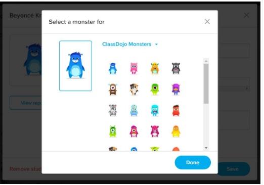 avatars pré-créés ClassDojo